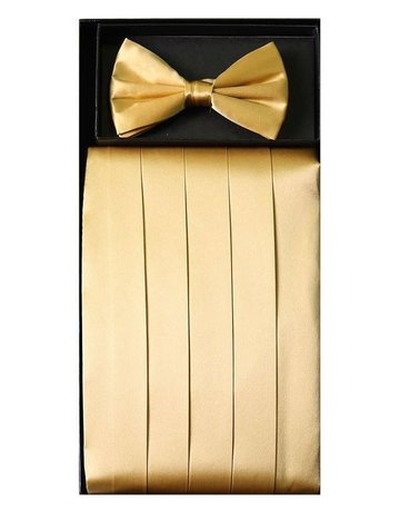 Calla Collection USA INC. Calla Collection Men's Silk Cummerbund & Bow Tie Set cb-m, Color: Gold