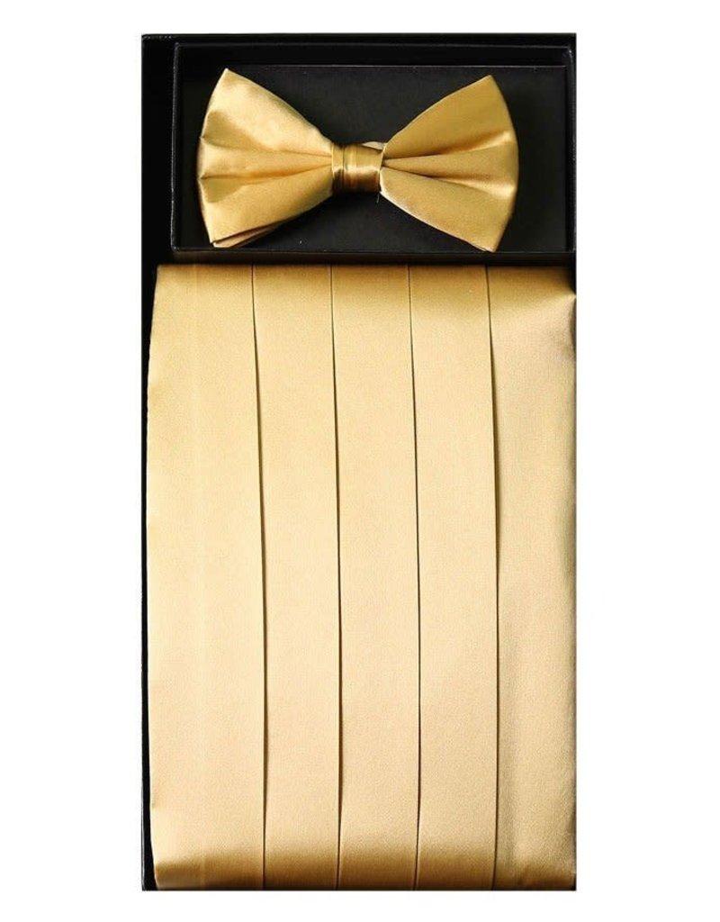 Calla Collection USA INC. Calla Collection Men's Silk Cummerbund & Bow Tie Set cb-m, Color: Gold
