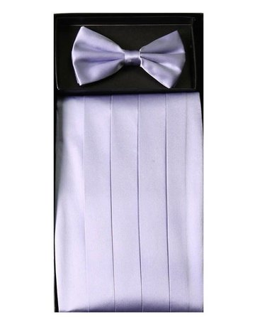 Calla Collection USA INC. Calla Collection Men's Silk Cummerbund & Bow Tie Set cb-m, Color: Lavender