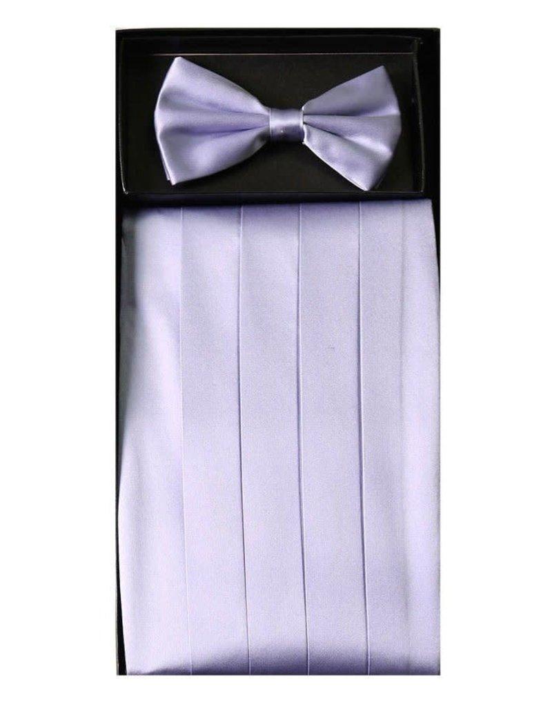 Calla Collection USA INC. Calla Collection Men's Silk Cummerbund & Bow Tie Set cb-m, Color: Lavender