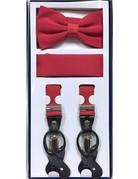 Calla Collection USA INC. Calla Collection Men's 3Pc Suspender, Bow Tie, & Hanky Set, Color: Red