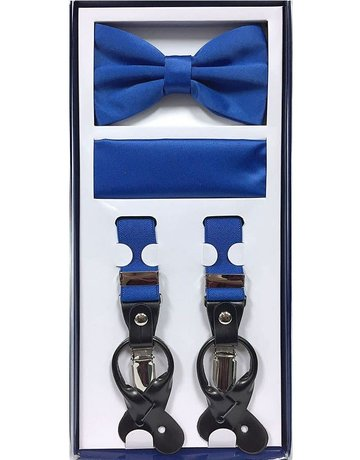 Calla Collection USA INC. Calla Collection Men's 3Pc Suspender, Bow Tie, & Hanky Set, Color: Royal Blue
