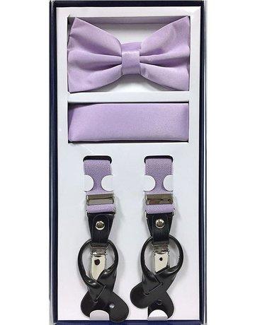 Calla Collection USA INC. Calla Collection Men's 3Pc Suspender, Bow Tie, & Hanky Set, Color: Lavender