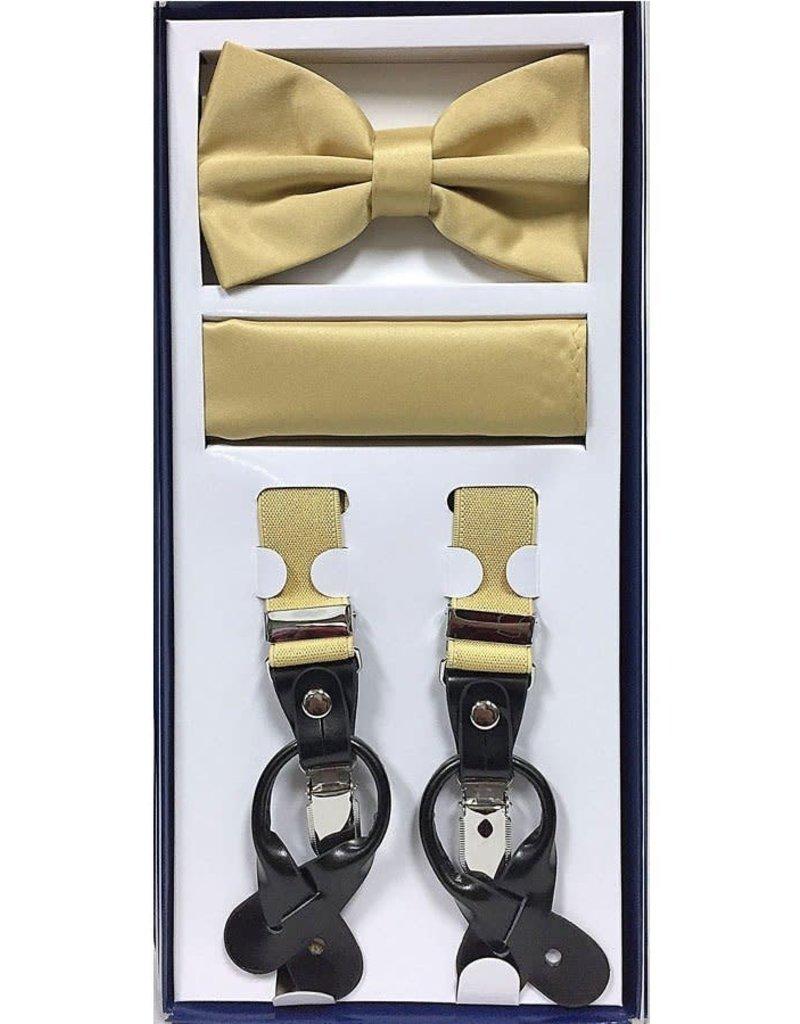 Calla Collection USA INC. Calla Collection Men's 3Pc Suspender, Bow Tie, & Hanky Set, Color: Gold