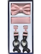 Calla Collection USA INC. Calla Collection Men's 3Pc Suspender, Bow Tie, & Hanky Set, Color: Dusty Pink