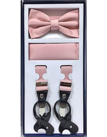 Calla Collection USA INC. Calla Collection Men's 3Pc Suspender, Bow Tie, & Hanky Set, Color: Dusty Pink