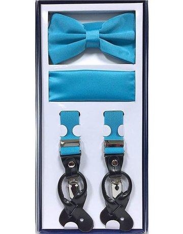 Calla Collection USA INC. Calla Collection Men's 3Pc Suspender, Bow Tie, & Hanky Set, Color: Aqua