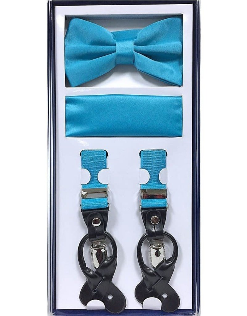Calla Collection USA INC. Calla Collection Men's 3Pc Suspender, Bow Tie, & Hanky Set, Color: Aqua