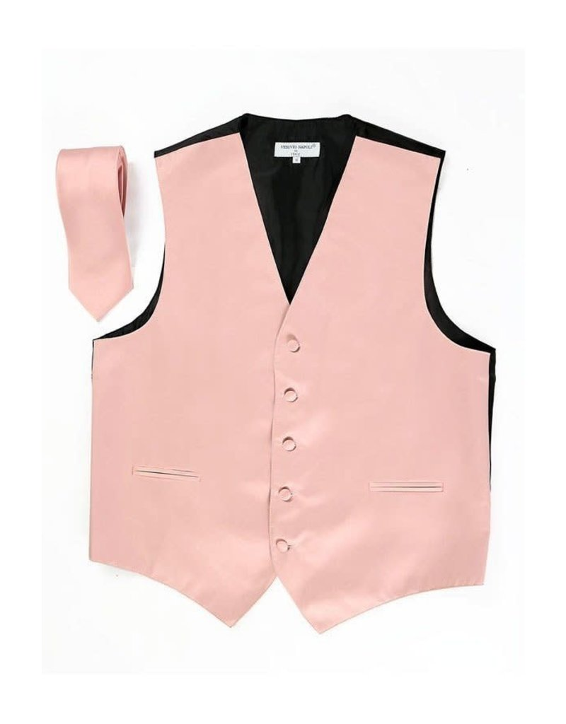Calla Collection USA INC. Calla Collection Men's Polyester Vest & Neck Tie Set, Color: Dusty Pink, Size: Medium