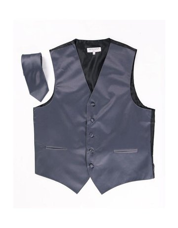 Calla Collection USA INC. Calla Collection Men's Polyester Vest & Neck Tie Set, Color: Grey, Size: Extra Large