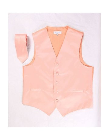 Calla Collection USA INC. Calla Collection Men's Polyester Vest & Neck Tie Set, Color: Peach, Size: Triple Extra Large