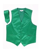 Calla Collection USA INC. Calla Collection Men's Polyester Vest & Neck Tie Set, Color: Red, Size: Extra Large