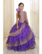 Calla Collection USA INC. Calla Collection 2-Toned Ruffled Diagonal Layers Organza Pageant Gown OS2060, Color: Lilac/Gold, Size: ?