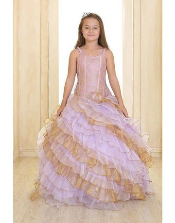 Calla Collection USA INC. Calla Collection 2-Toned Ruffled Diagonal Layers Organza Pageant Gown OS2060, Color: Coral/Gold, Size: 8