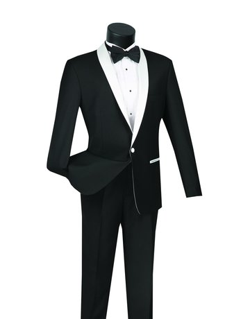 Vinci International Group Corp Vinci International SB 1BNT, Slim Suit, Side Vents S1SH-2, Color: White, Size: 42R
