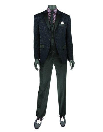 Vinci International Group Corp Vinci International SB 2BTN, 3PCS Slim Fit Tuxedo T-SF, Color: Black, Size: 40L