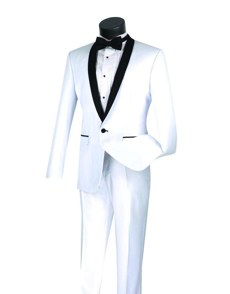 Vinci International Group Corp Vinci International SB 1BTN 2PCS Tuxedo Suit, Side Vents T-SS, Color: White, Size: 42R