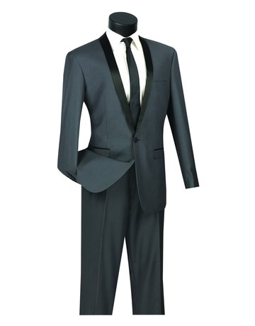 Vinci International Group Corp Vinci International SB 1BTN 2PCS Tuxedo Suit, Side Vents T-SS, Color: Heather Grey, Size: 40S