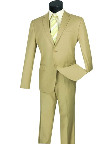 Vinci International Group Corp Vinci International SB 2BTN Side Vents Ultra Slim Suit US900-1, Color: Beige, Size: 38S