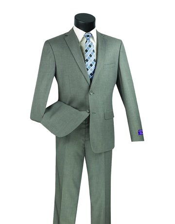 Vinci International Group Corp Vinci International 2BTN, Side Vents, Ultra Slim Suit US900-1, Color: Grey, Size: 42R