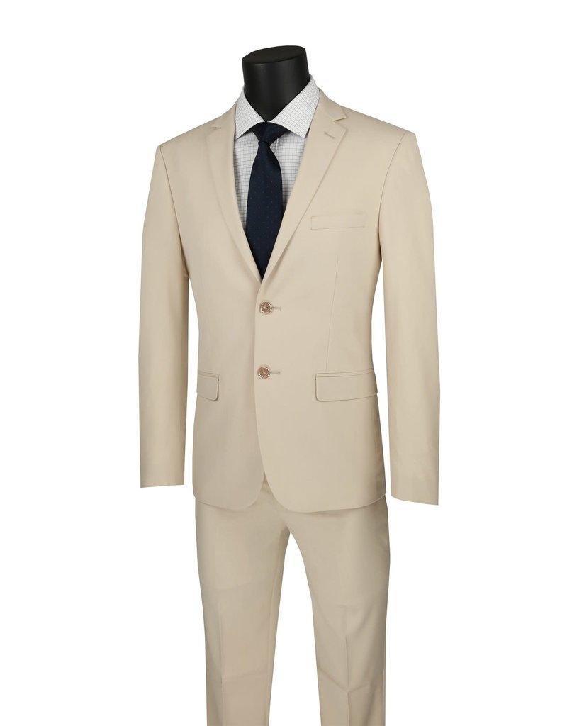 Vinci International Group Corp Vinci International SB 2BTN, Stretch Ultra Slim Flat Front Pants USDX-1, Color: Beige, Size: 40L