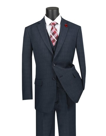 Vinci International Group Corp Vinci International SB 2BTN, 3PCS Suit, Side Vents V2RW-15, Color: Blue, Size: 46R