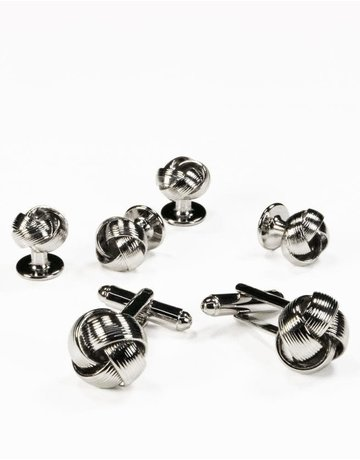 Cardi International Cardi International Loveknot Cuff Link Set, Color: Silver