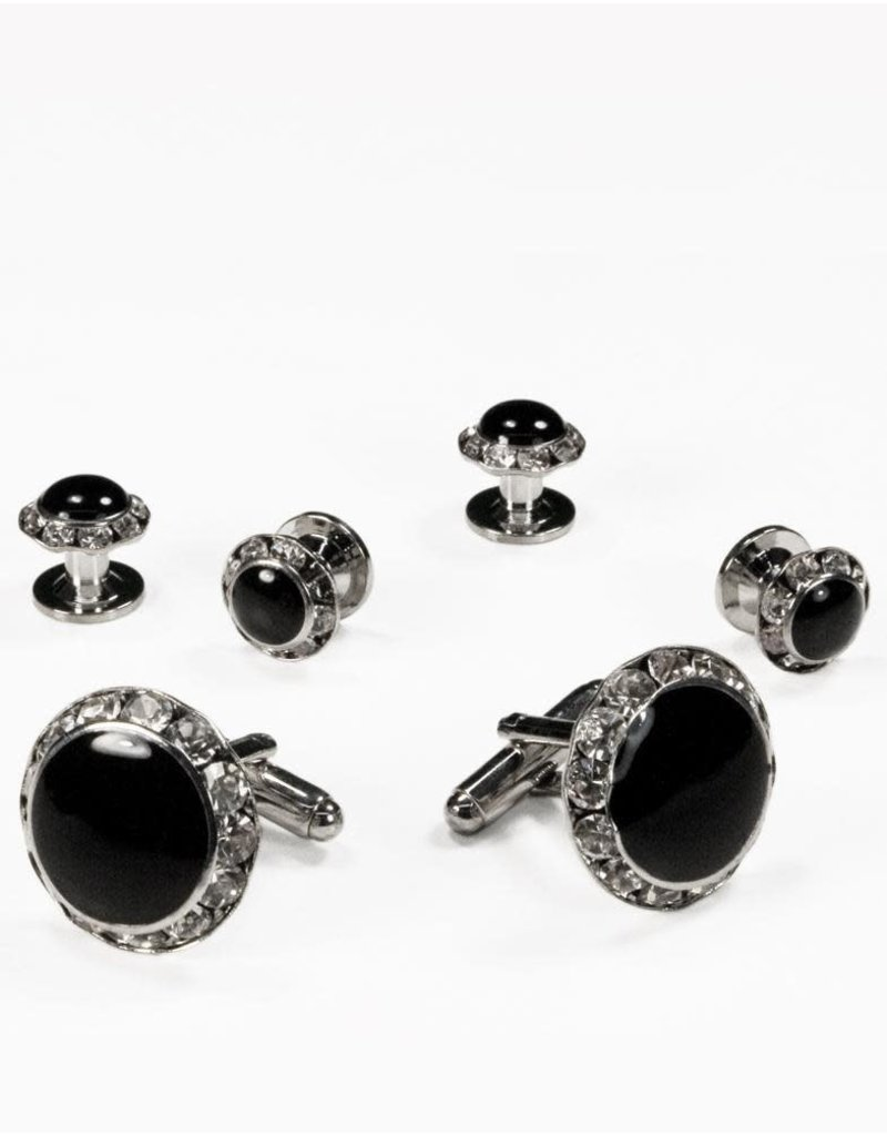 Cardi International Cardi International Black Circular Enamel w Rhinestones, Color: Silver