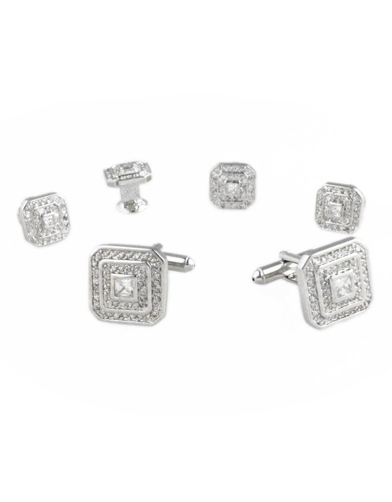 Cardi International Cardi International Square CZ Cuff Link Set, Color: Silver