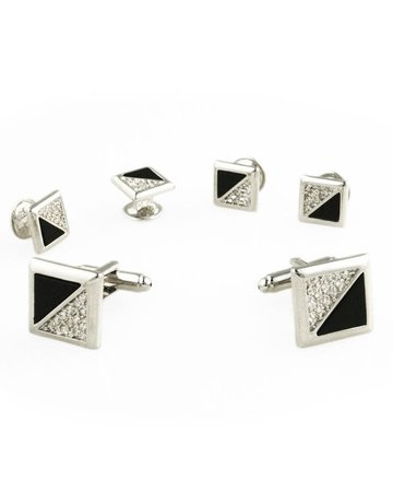 Cardi International Cardi International Black Onyx & CZ Triangles, Color: Silver