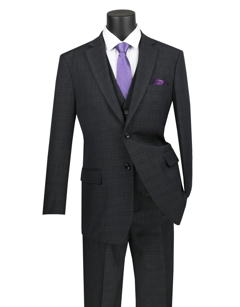 Vinci International Group Corp Vinci International SB 2BTN, 3PC Suit, Side Vents V2RW-15, Color: Black, Size: 50R