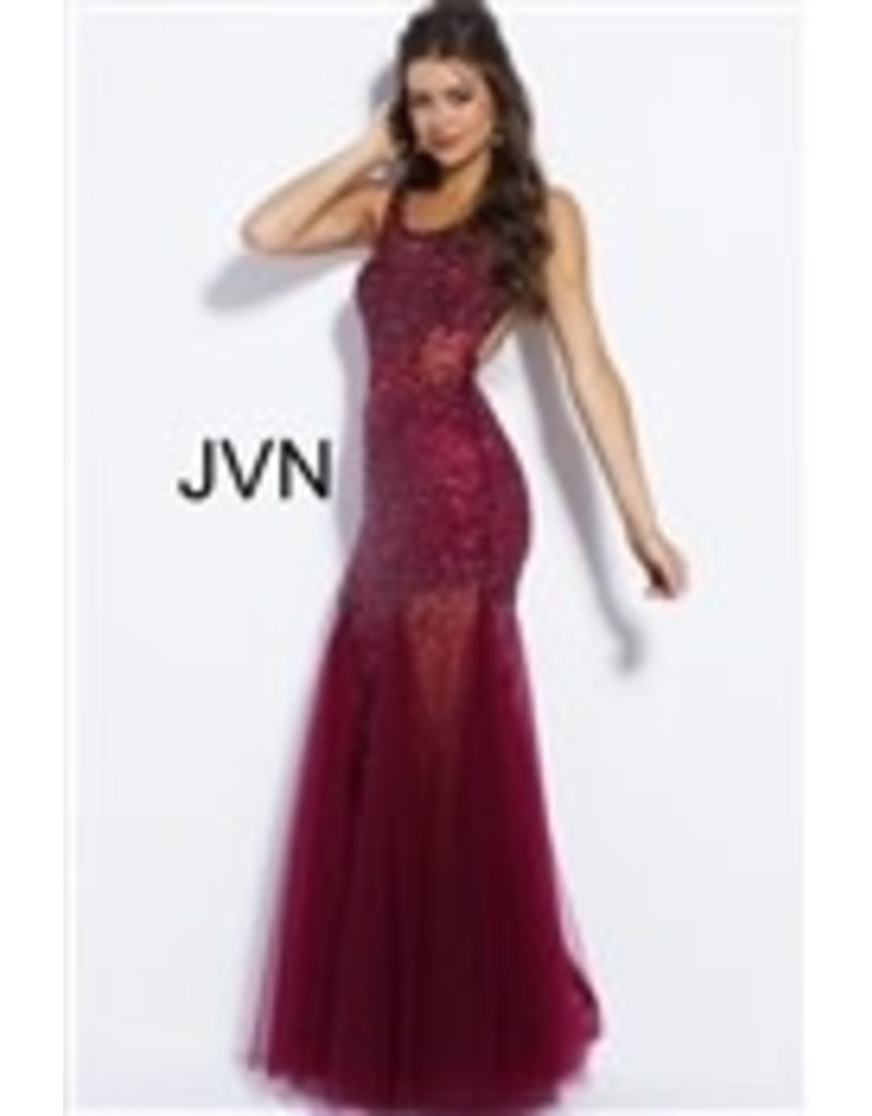 JVN JVN Prom Beaded Tulle 55771, Color: Wine, Size: 14