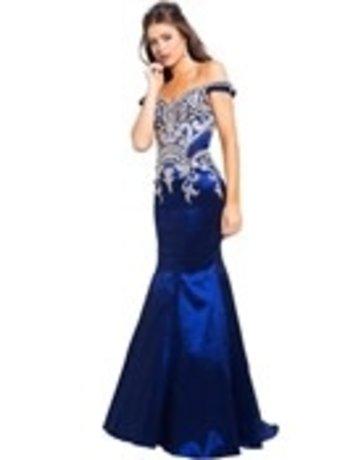 JVN JVN Prom Mermaid Embroidered 61193, Color: Navy Blue, Size: 16