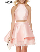 Alyce ALYCE DRESS 2PC MIKADO HALTER-ALY-3812-COLOR: ROSE/WATER SIZE 12