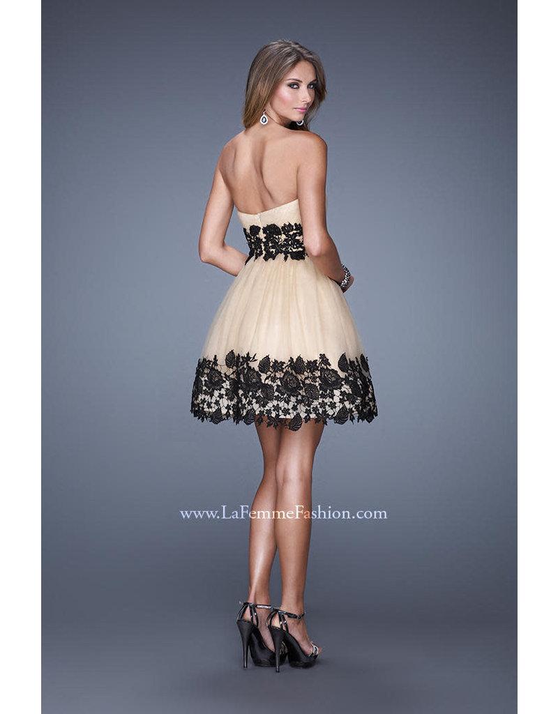 La Femme Dress Tulle Lace LAF-20790 Color: WHT/BLK Size: 4