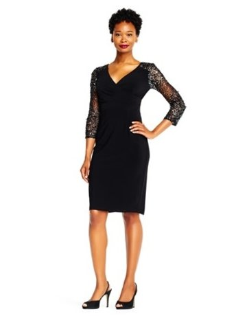 Adriana Papell Adrianna Papell Dress Beaded ap1e201493, Color: Black, Size: 4