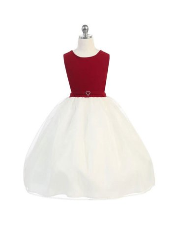 Calla Collection USA INC. Calla Collection Velvet Color Top w Organza Skirt KD2458, Color: Red/Ivy, Size: 6