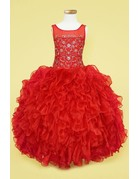 Calla Collection USA INC. Calla Collection TC-301 Scop Neck Organza Ruffle Dress Color: Red  Size: 7