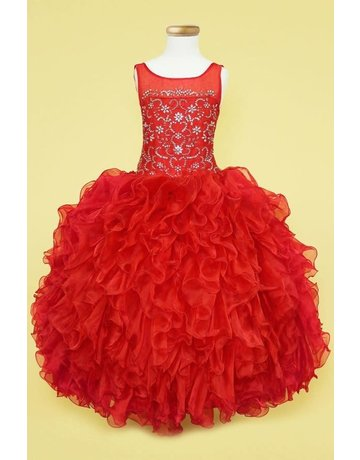 Calla Collection USA INC. Calla Collection TC-301 Scop Neck Organza Ruffle Dress Color: Red  Size: 7