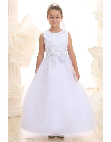 Calla Collection USA INC. Calla Collection 100% Polyester Communion Dress w Organza Skirts KD3637-S, Color White, Size: 12
