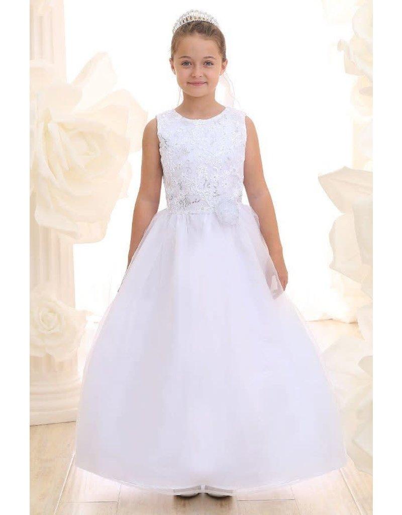 Calla Collection USA INC. Calla Collection 100% Polyester Communion Dress w Organza Skirts KD3637-S, Color White, Size: 12
