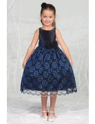 Calla Collection USA INC. Calla Collection D-784 Lace Dress Color: Black/Royal Blue Size:6