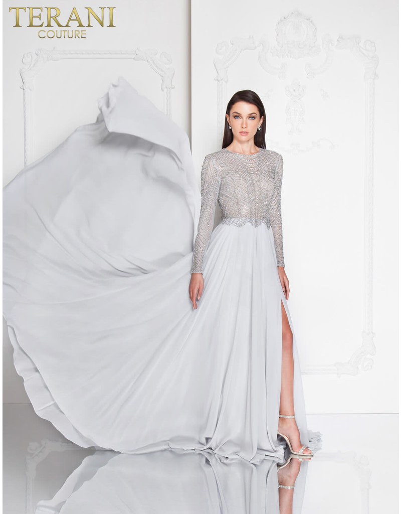Terani Couture Terani Couture 1813M6703 Color: Antique Silver Size: 14