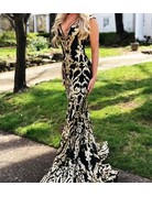 Jovani Jovani 63350, Color: Black/Gold, Size: 14