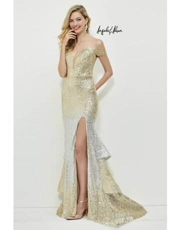 Angela & Alison Angela & Alison Prom Ombre Sequence 81130, Color: Gold/Silver, Size: 16