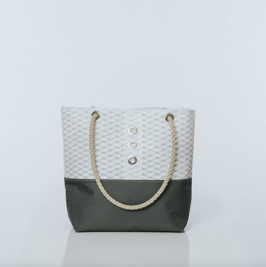 Alaina Marie ® Harbor Mist & White with Charcoal Tote