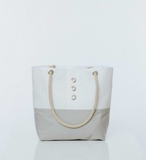 Alaina Marie ® Mini Silver on White & White Tote