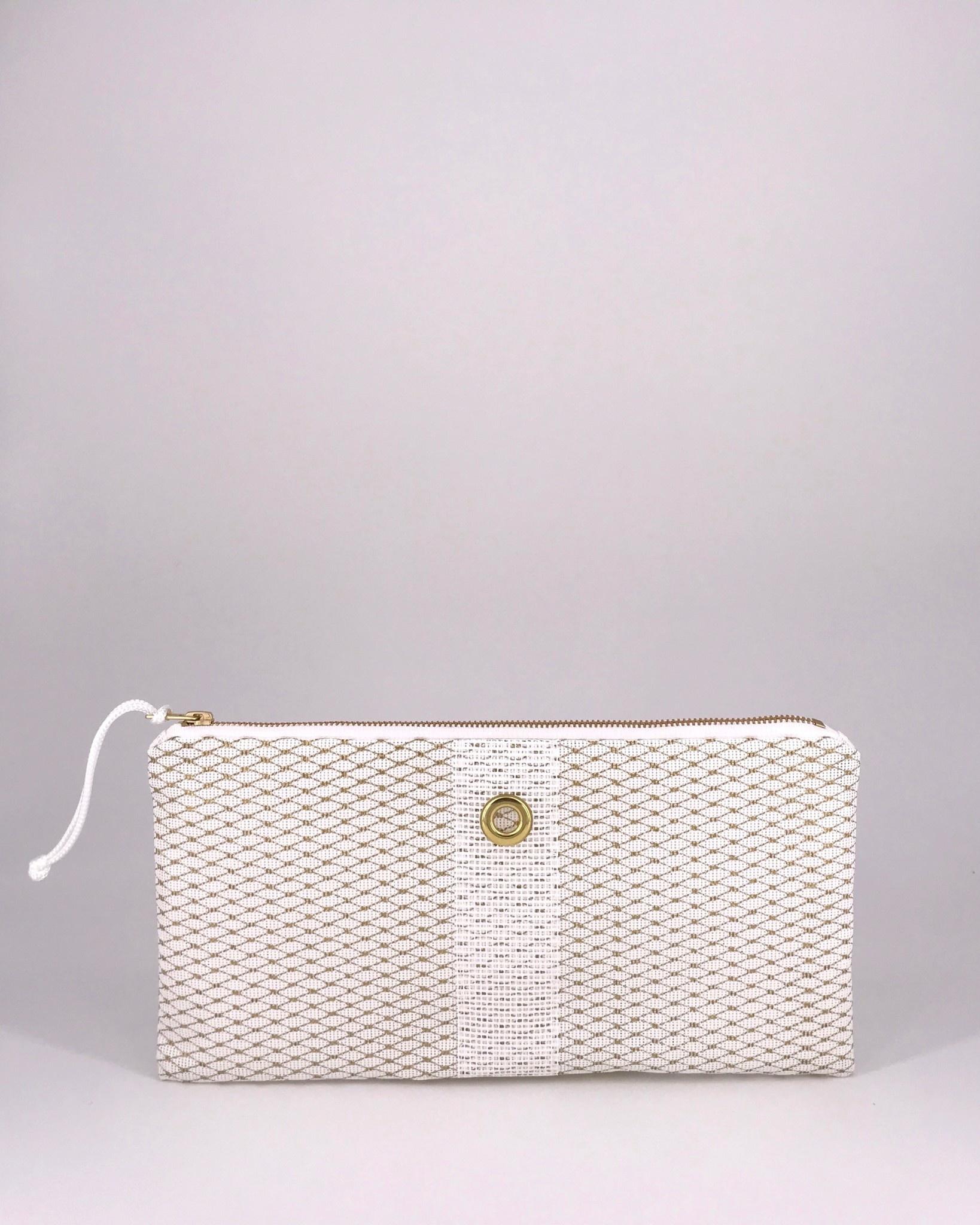 Alaina Marie ® Mini Gold Metallic on White & White Clutch