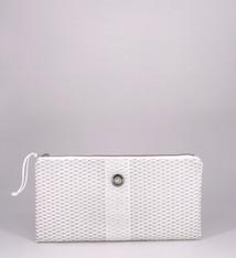 Alaina Marie ® Mini Silver Metallic on White & White Clutch