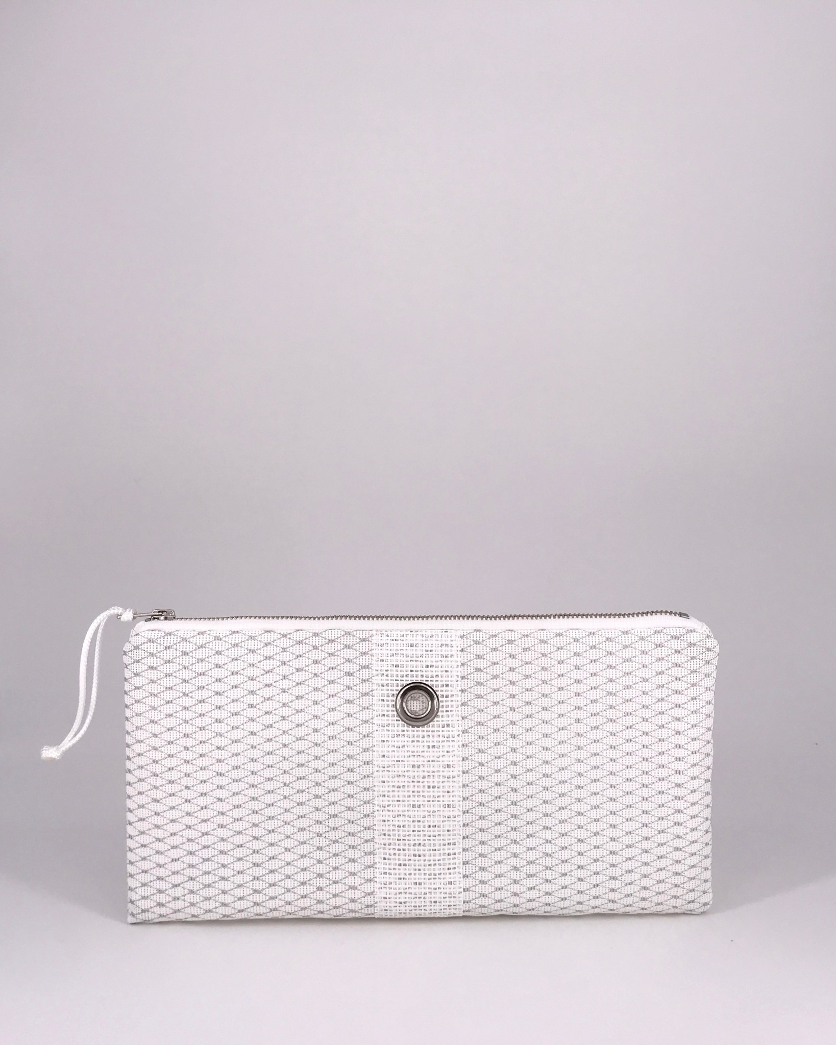 Alaina Marie ® Mini Silver Metallic on White & White Clutch